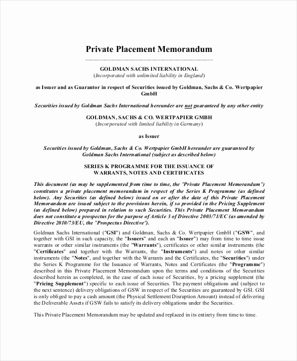 Private Placement Memorandum Template Beautiful Private Placement Memorandum 12 Free Pdf Documents