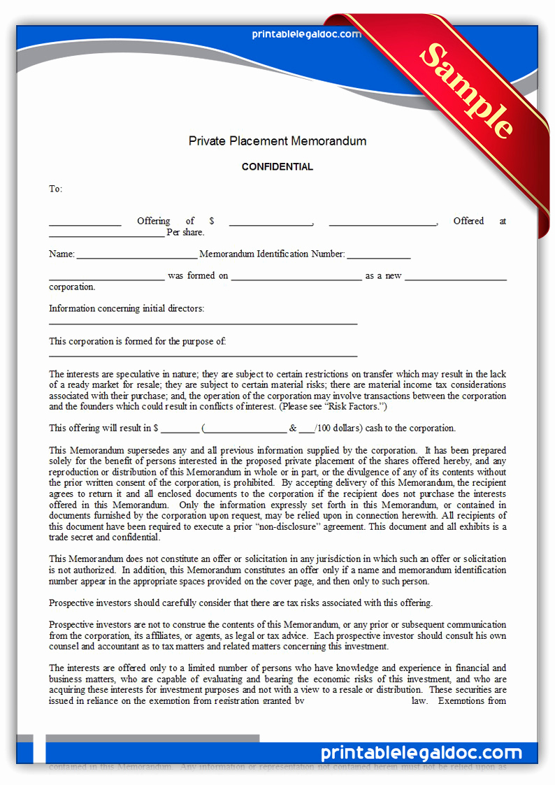 Private Placement Memorandum Template New Free Printable Private Placement Memorandum form Generic