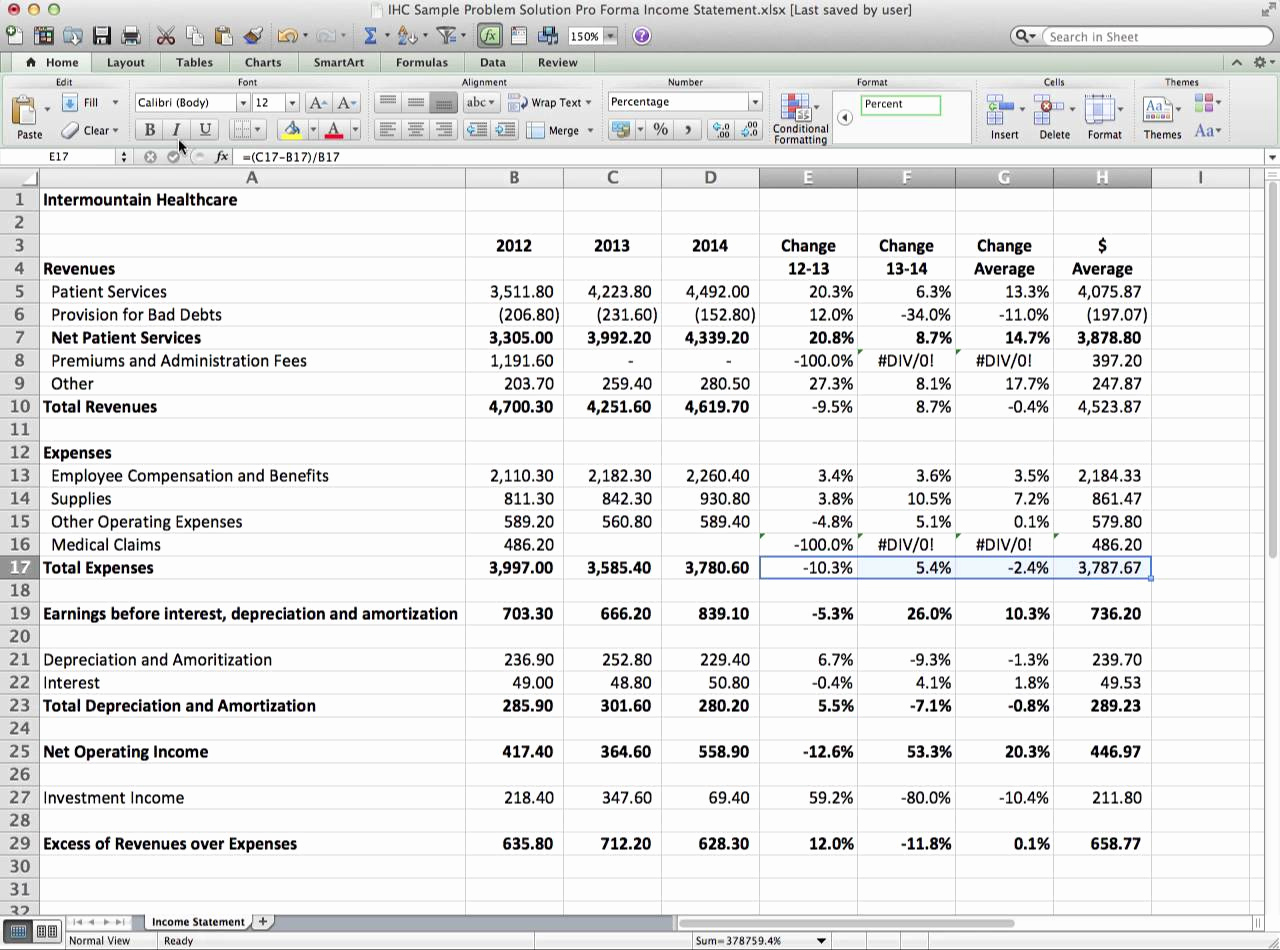 Pro forma Income Statement Example Awesome Pro forma In E Statement