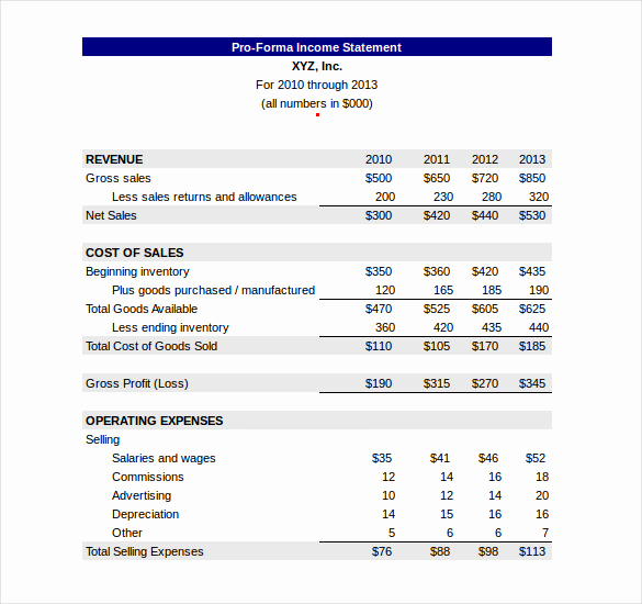 Pro forma Income Statement Example Elegant In E Statement Template 23 Free Word Excel Pdf