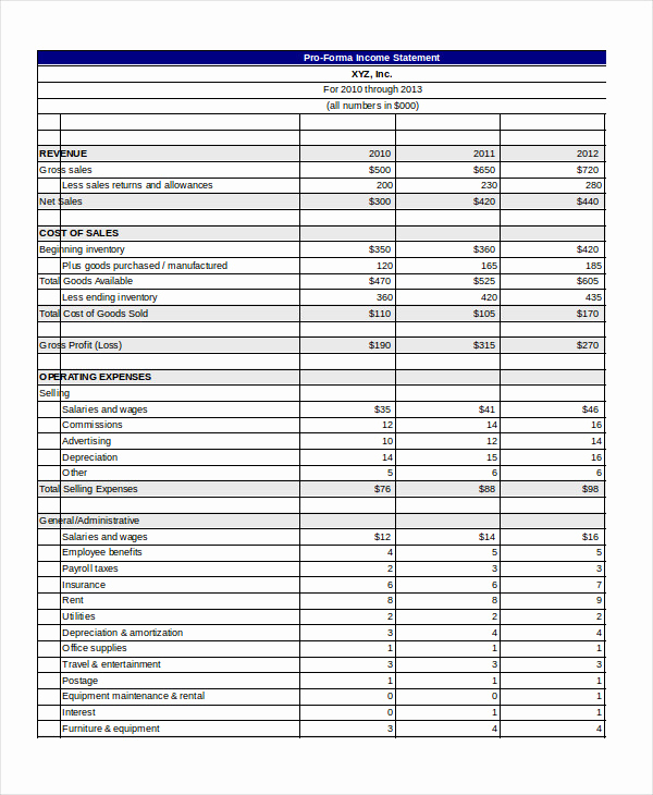 Pro forma Income Statement Example Elegant Pro forma Excel Template 10 Free Excel Documents