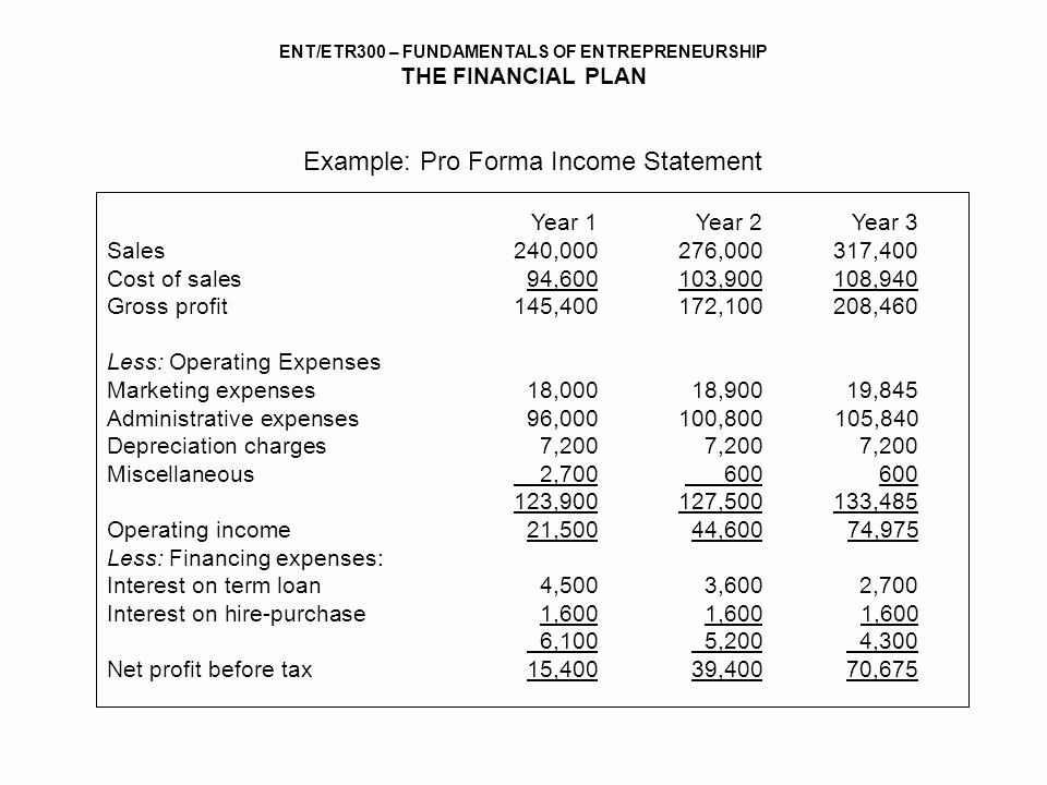 Pro forma Income Statement Example Fresh Financial Plan assoc Prof Dr ismail Ab Wahab Ppt