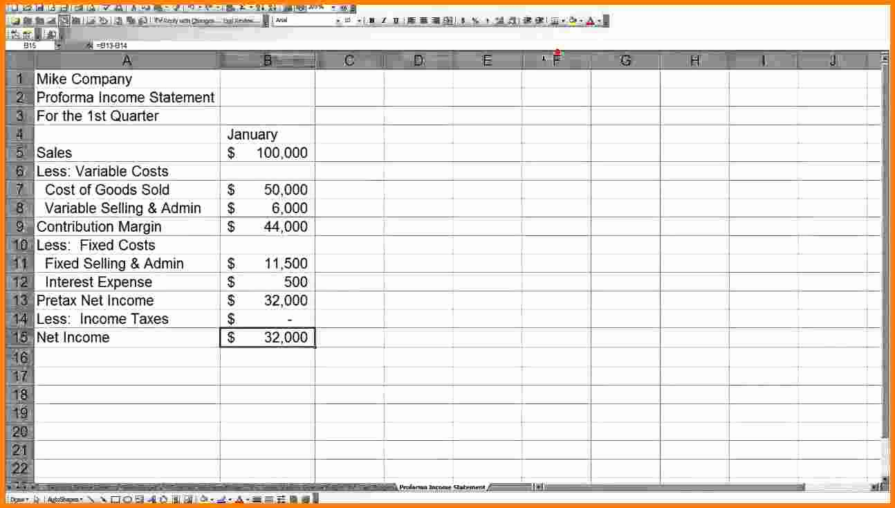 Pro forma Income Statement Example New 8 Pro forma In E Statement Example