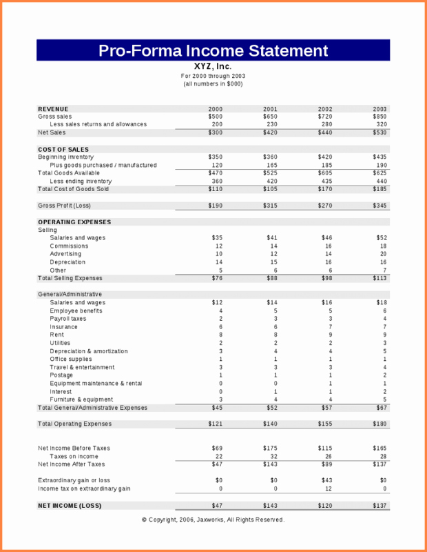 Pro forma Income Statement Example New Pro forma In E Statement