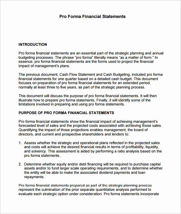 Pro forma Income Statement Template Fresh 10 Proforma In E Statement Templates to Download