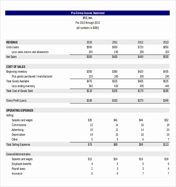 Pro forma Income Statement Template Lovely In E Statement Templates – 23 Free Word Excel Pdf