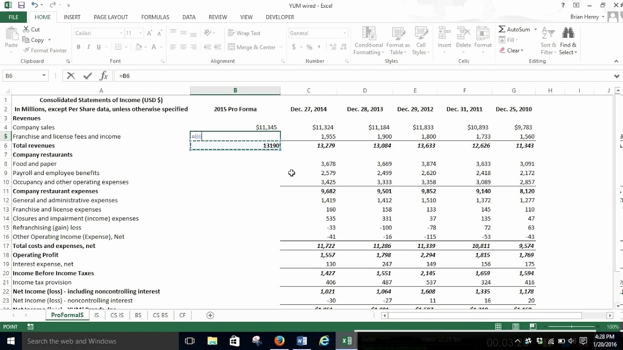 Pro forma Income Statement Template Luxury Pro forma In E Statement Percent Of Sales Excel 2013