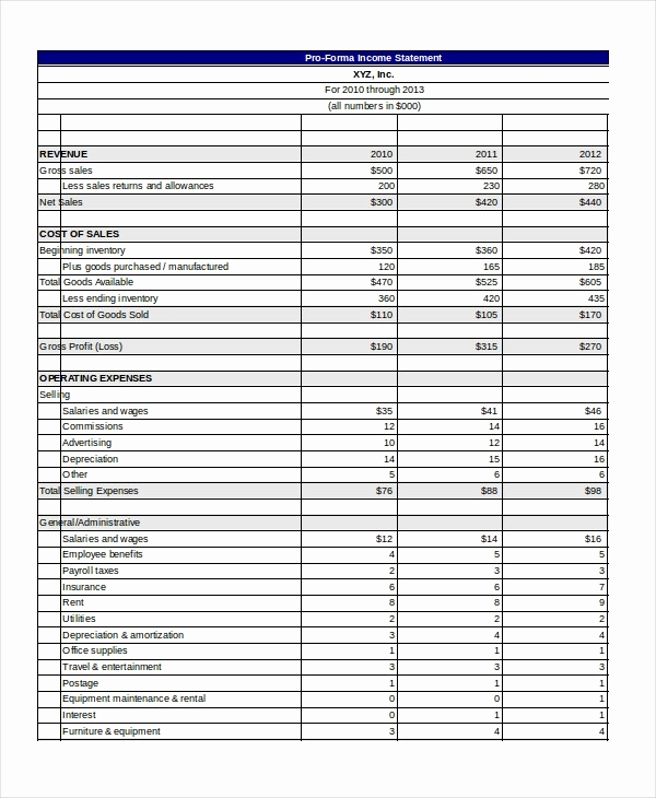 Pro forma Income Statement Template New Pro forma Template Beepmunk