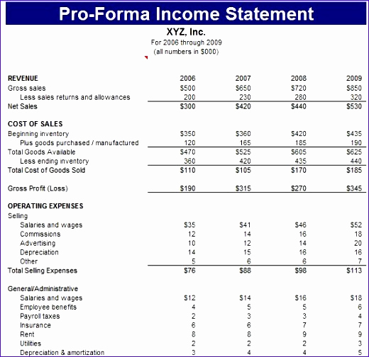 Pro forma Income Statement Template Unique 10 Pro forma Financial Statements Excel Template