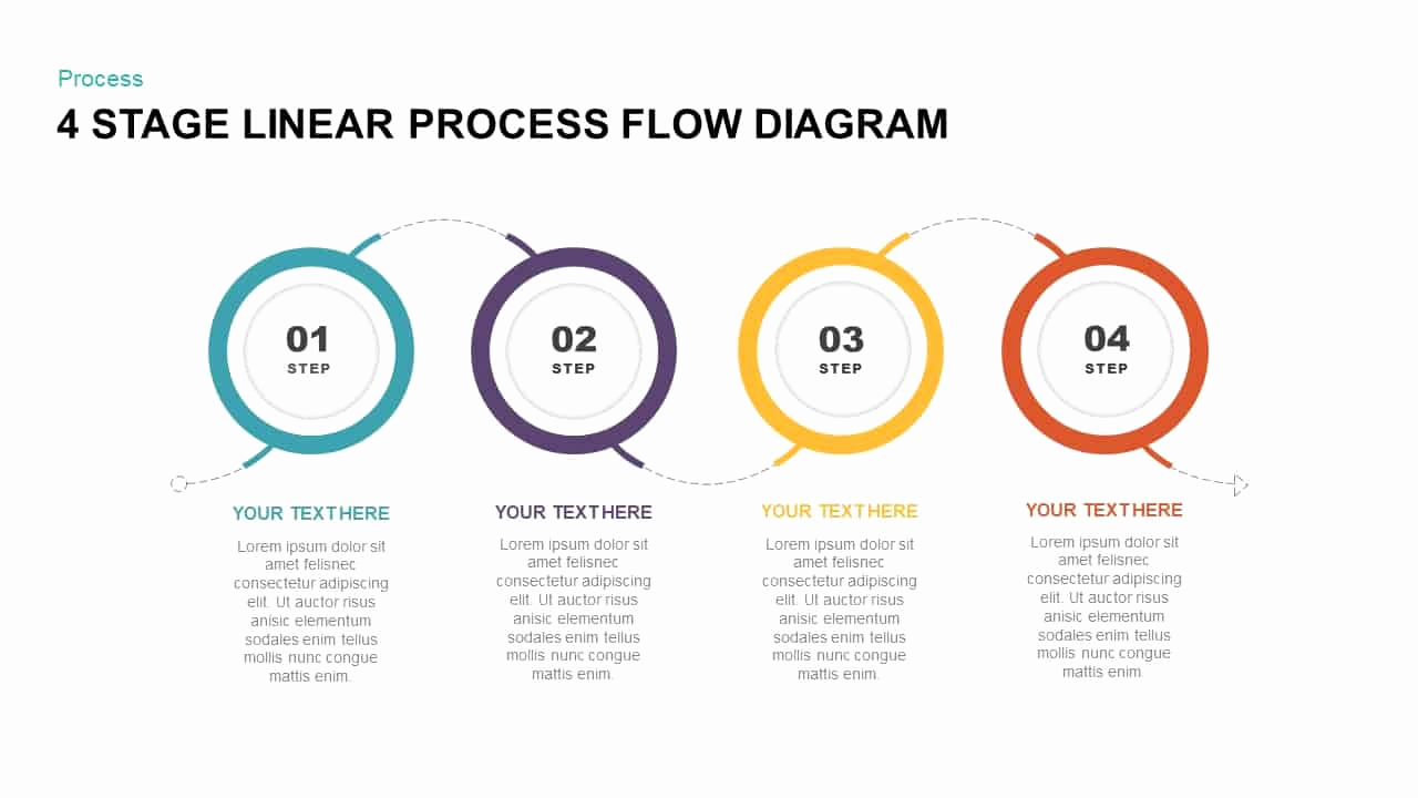 Process Flow Chart Template Lovely 4 Stage Linear Process Flow Diagram Powerpoint Template
