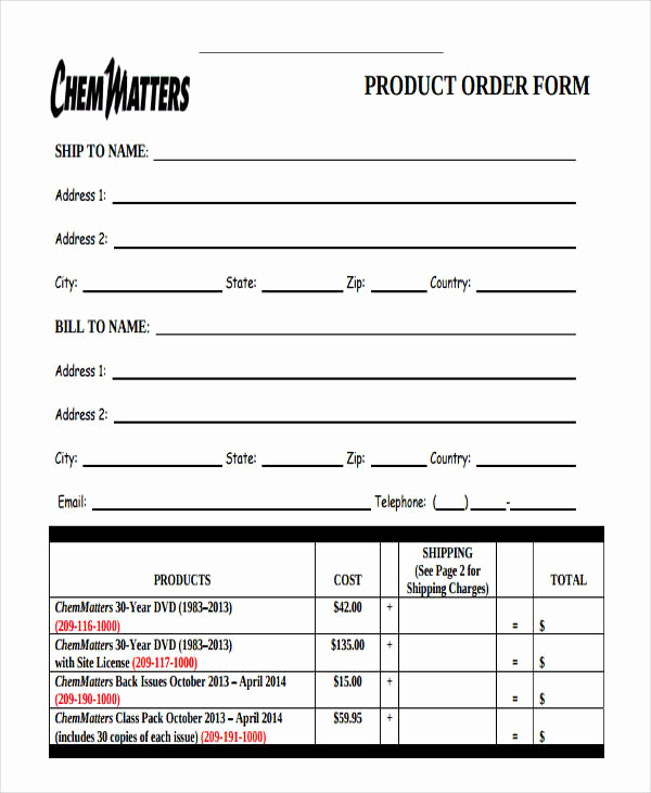 Product order form Template Fresh 9 Product order forms Free Samples Examples format