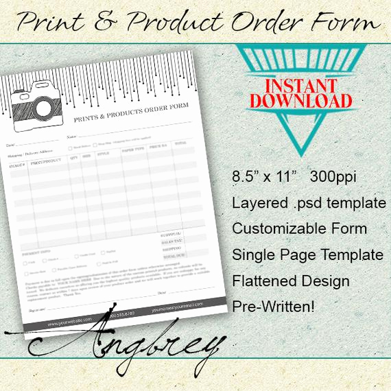 Product order form Template Luxury Print & Product order form for Graphers Shop