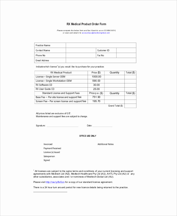 Product order form Template New 10 Sample Product order forms