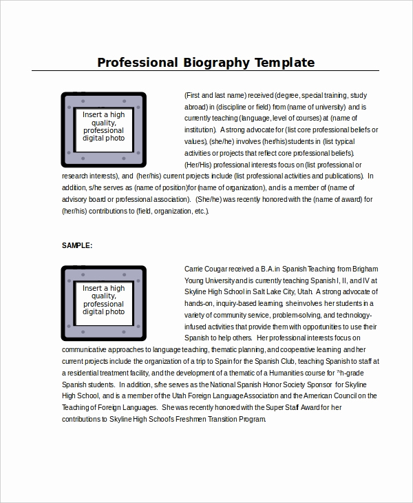 Professional Bio Template Word Awesome Word Template 8 Free Word Documents Download