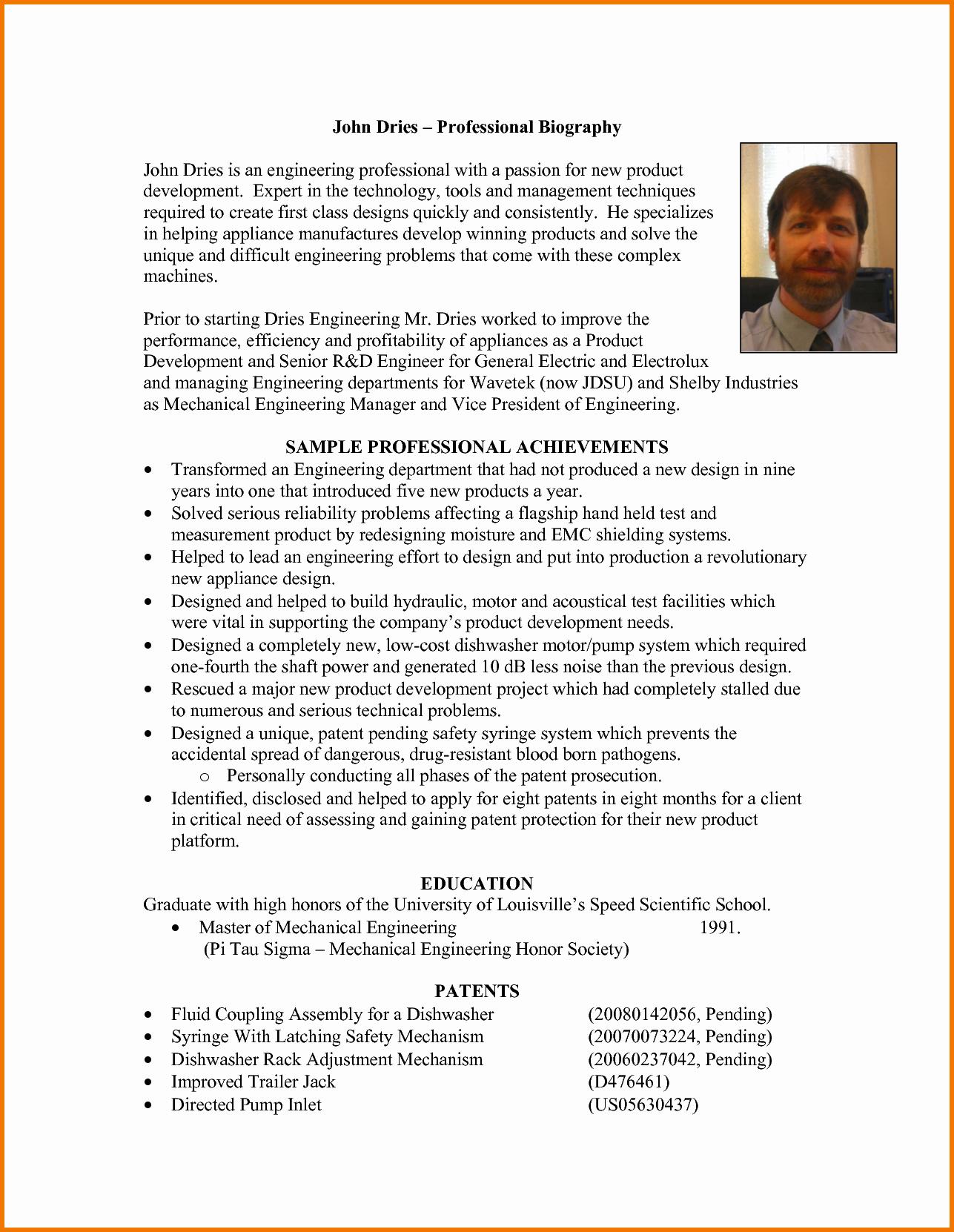 Professional Bio Template Word Beautiful Professional Bio Template