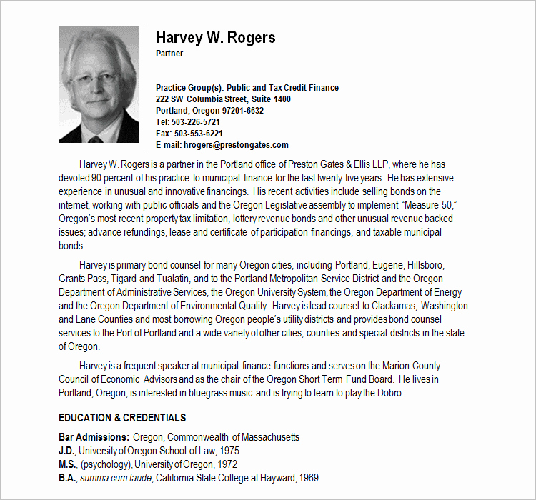 Professional Bio Template Word Best Of 46 Sample Biography Templates Free Word Doc Examples