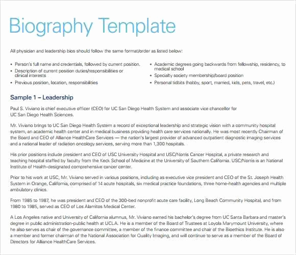 Professional Bio Template Word Fresh 10 Biography Templates Word Excel Pdf formats