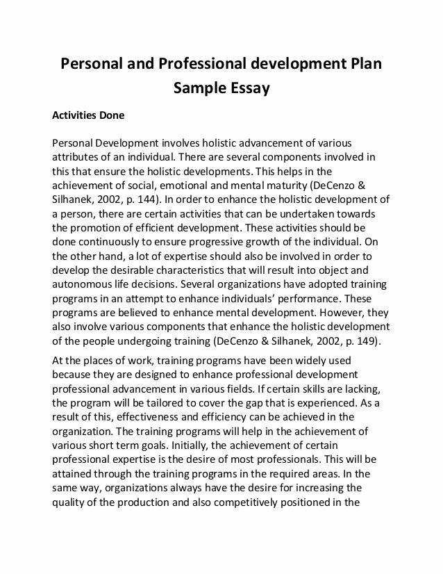 Professional Development Plan Sample Best Of Personal and Professional Development Plan Sample Essay