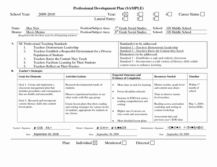 Professional Development Plan Sample Fresh Professional Learning Plan Examples Google Search