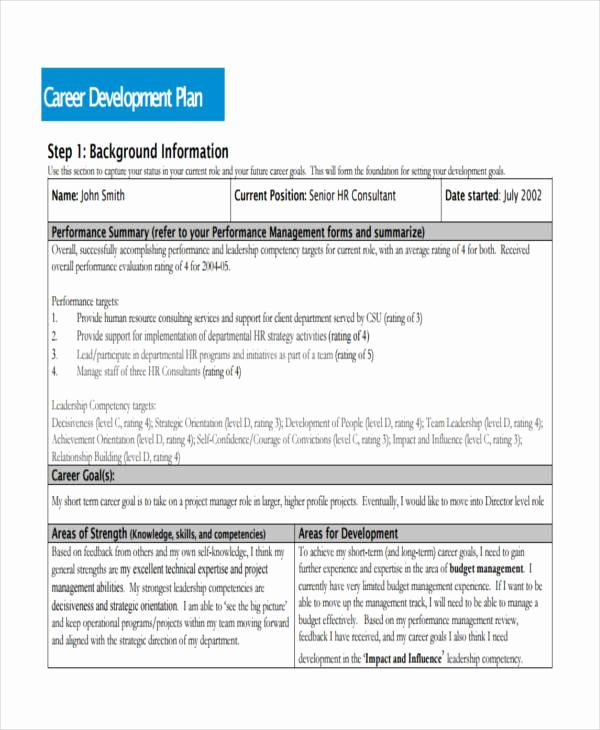 Professional Development Plan Sample Unique 58 Development Plan Examples & Samples Pdf Word Pages