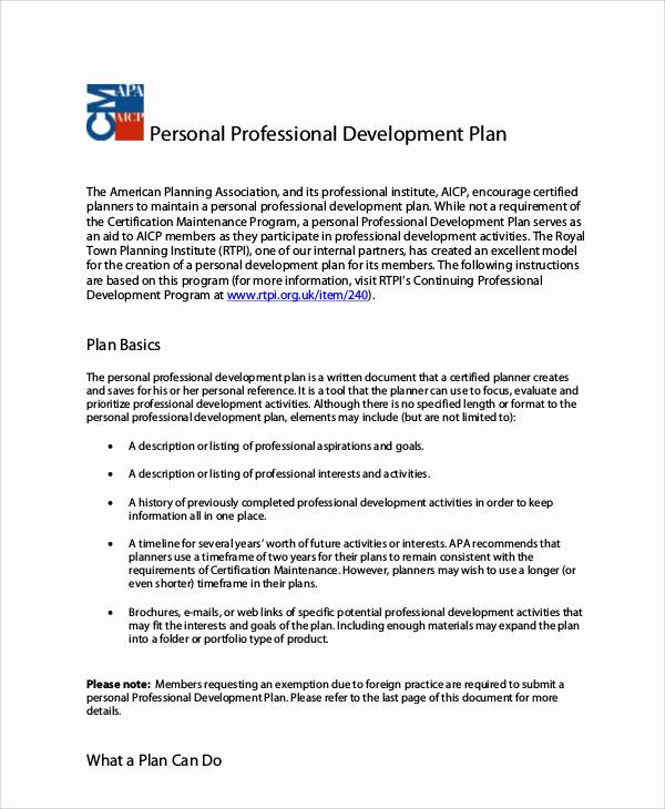 Professional Development Plan Template Fresh Professional Development Plan Sample 13 Examples In