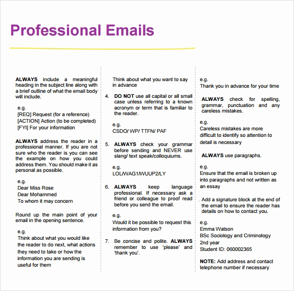 Professional E Mail Template Best Of 8 Sample Professional Emails Pdf