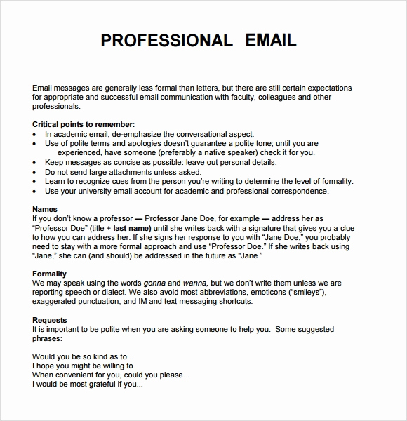 Professional E Mail Template Elegant 8 Sample Professional Emails Pdf