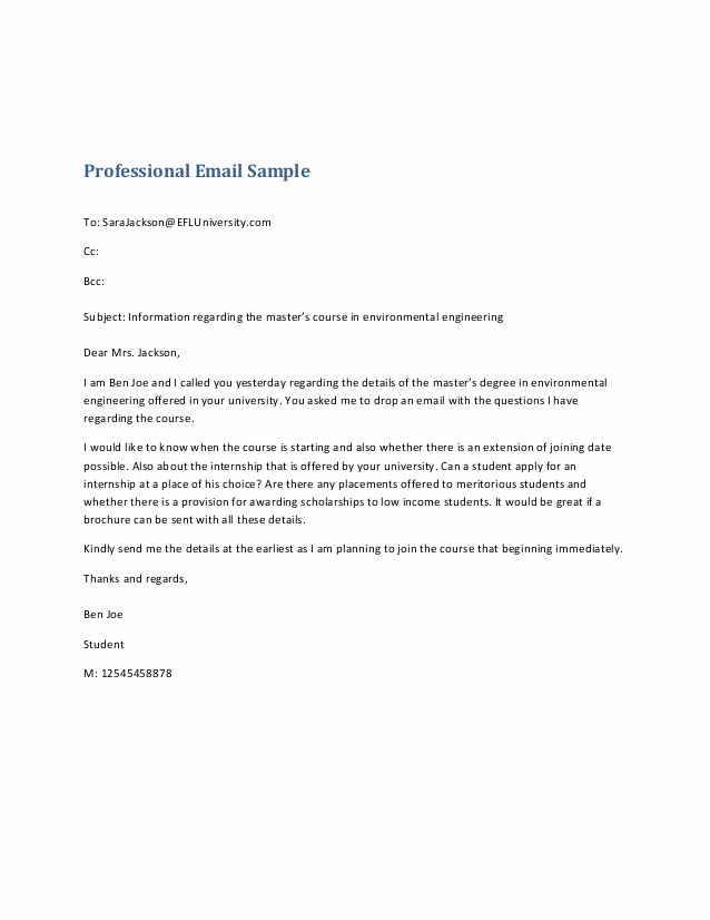 Professional E Mail Template Elegant Professional Email Sample