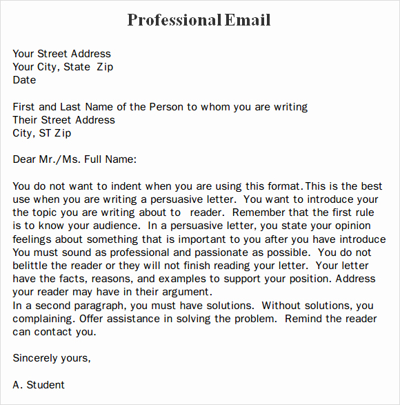 Professional E Mail Template Lovely Professional Email format Templates