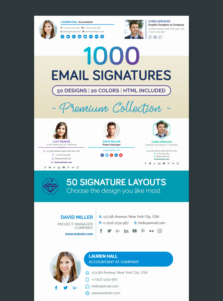 Professional E Mail Templates Lovely 18 Professional HTML Psd Email Signature Templates