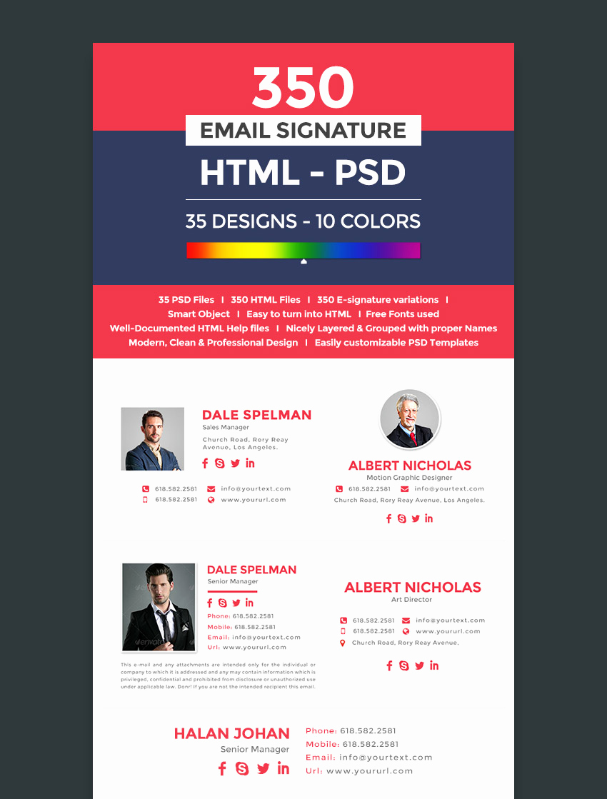 Professional E Mail Templates New 18 Professional HTML Psd Email Signature Templates