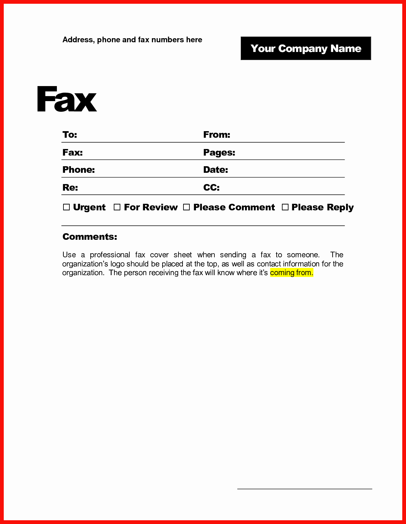 Professional Fax Cover Sheet Best Of Printable Fax Cover Sheet