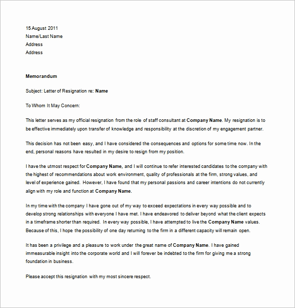 Professional Letter Of Resignation Beautiful Professional Resignation Letter Templates 12 Free Word