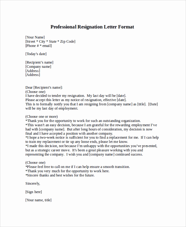 Professional Letter Of Resignation Luxury Professional Letter format Sample 8 Examples In Pdf Word