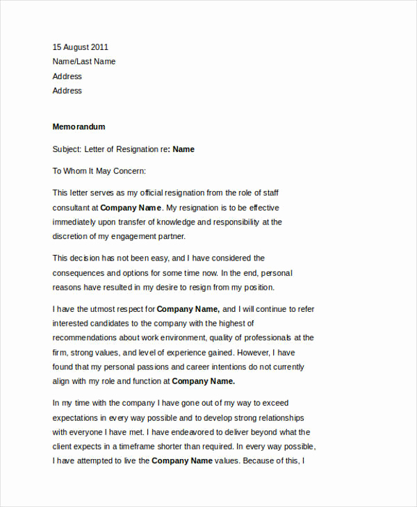 Professional Letter Of Resignation Unique 49 Resignation Letter Examples