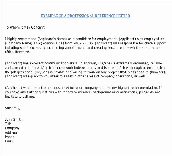 Professional Reference Letter Template Elegant Reference Letter Templates – 18 Free Word Pdf Documents