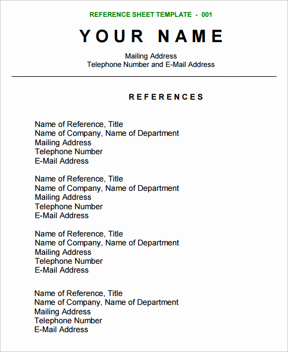 Professional Reference List Template Word Best Of Sample Reference Sheet 12 Examples format