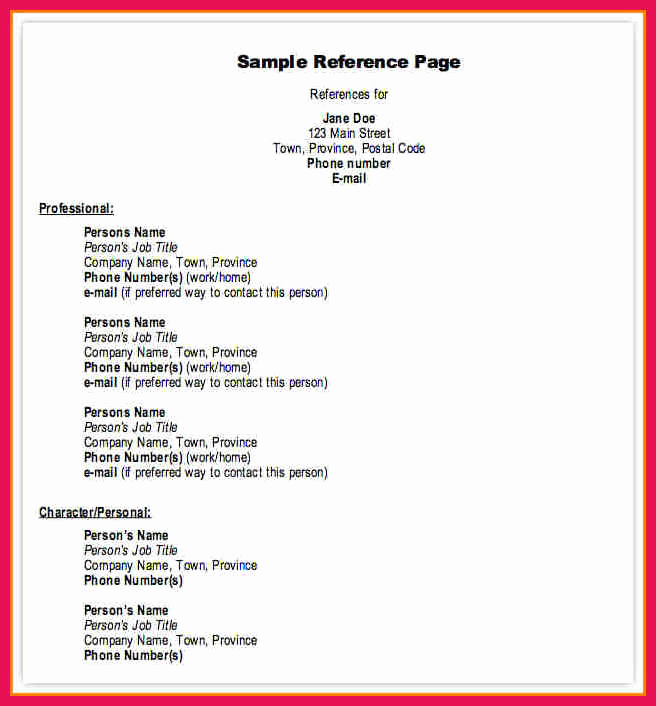 Professional Reference List Template Word Luxury Professional References format