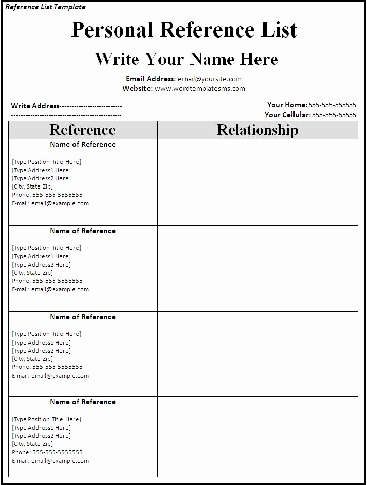 Professional Reference List Template Word Unique List References Template