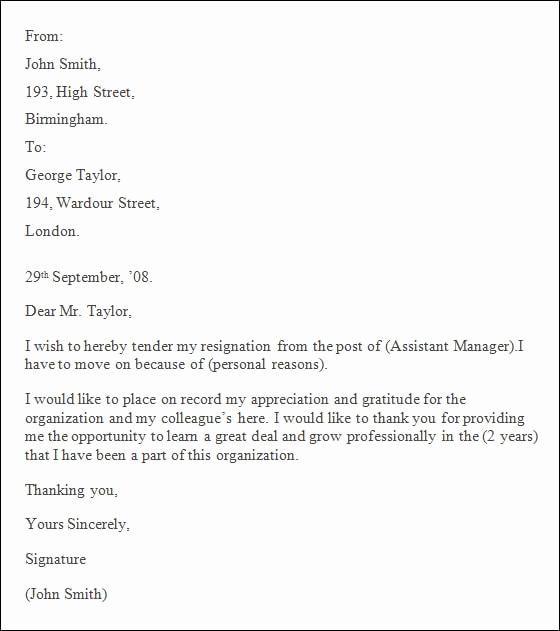 Professional Resignation Letter Sample Fresh 9 Professional Resignation Letter Pdf Doc