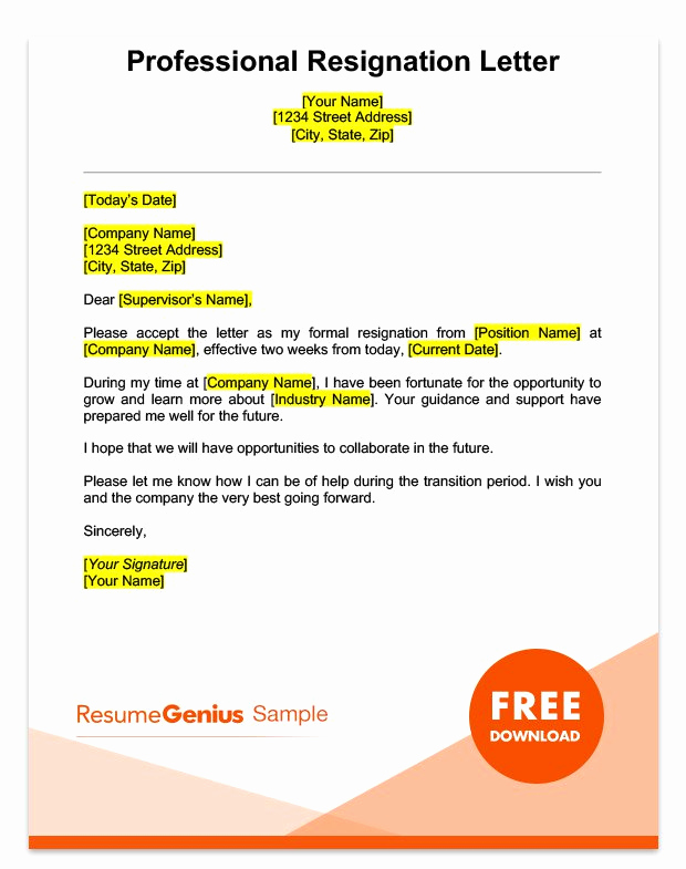 Professional Resignation Letter Sample Inspirational Two Weeks Notice Letter Sample Free Download