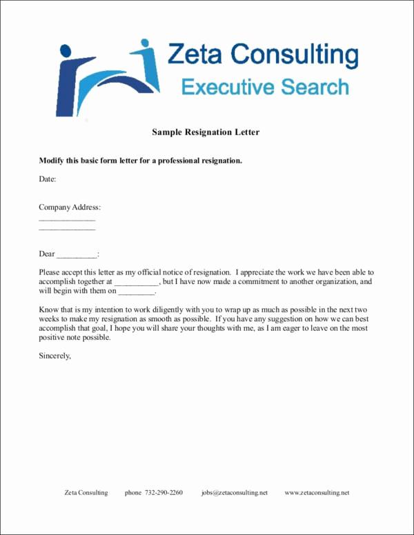 Professional Resignation Letter Sample Lovely 33 Printable Resignation Letter Samples & Templates