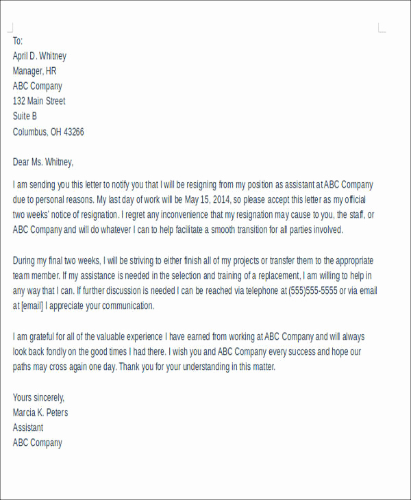 Professional Resignation Letter Sample Luxury Sample Resignation Letter with Reason 5 Examples In Pdf