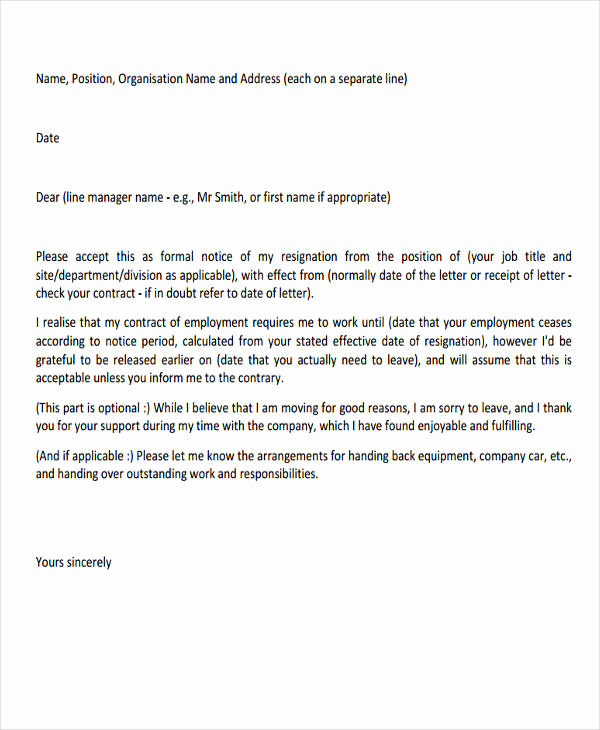 Professional Resignation Letter Sample Unique 29 Resignation Letter Templates In Pdf