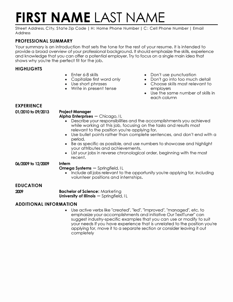 Professional Resume Template Free Inspirational Free Professional Resume Templates