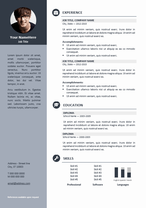 Professional Resume Template Free Inspirational orienta Free Professional Resume Cv Template