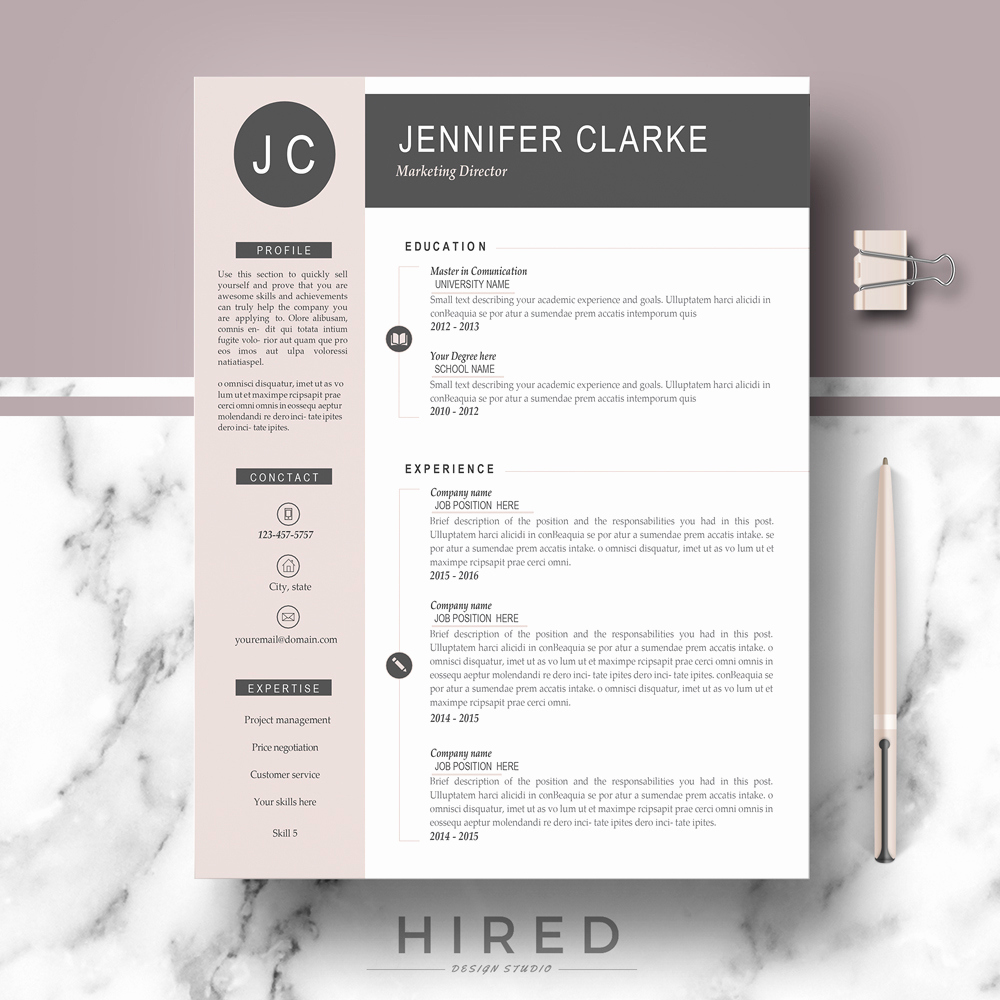 Professional Resume Template Word Awesome Hired Design Studio