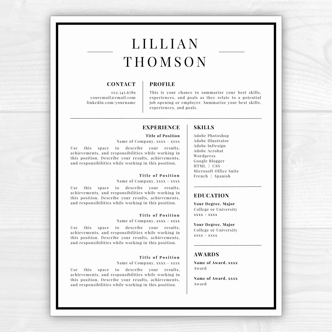 Professional Resume Template Word Awesome Professional Resume Template for Word & Pages Cv Template