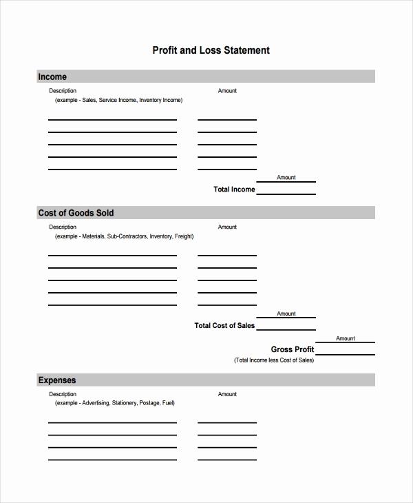 Profit and Loss Statement form Best Of 8 Profit and Loss Statement form Samples Free Sample