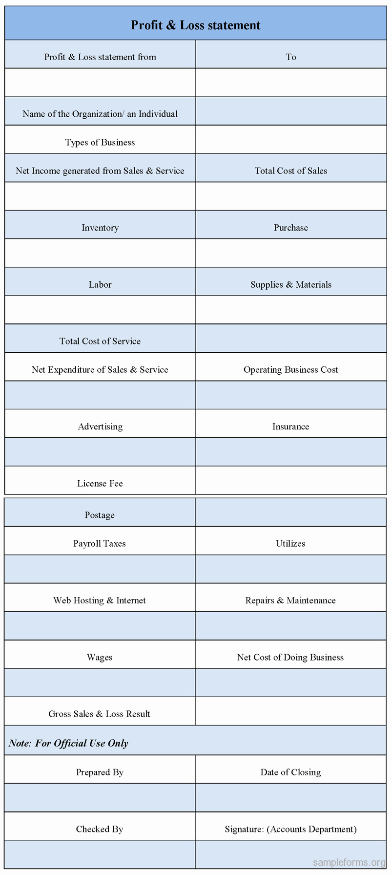Profit and Loss Statement form Best Of Profit and Loss Statement form Sample forms